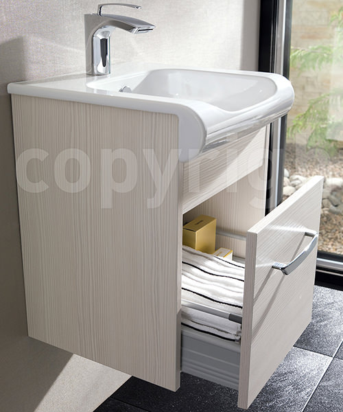 Additional image of Bauhaus Essence Glacier 400mm Single Drawer Unit And Basin