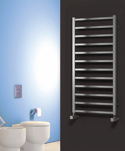 Alternate image of Reina Arden Satin Stainless Steel Radiator 500 x 500mm