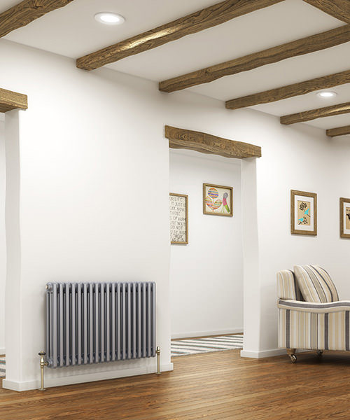 Additional image of DQ Heating Peta 592mm High 2 Column Radiator White - 3 To 40 Sections
