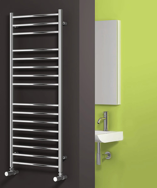 Alternate image of Reina Luna Flat Polished Stainless Steel Radiator 500 x 430mm