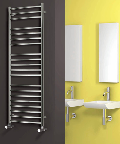 Alternate image of Reina Eos Curved Polished Stainless Steel Radiator 500 x 430mm