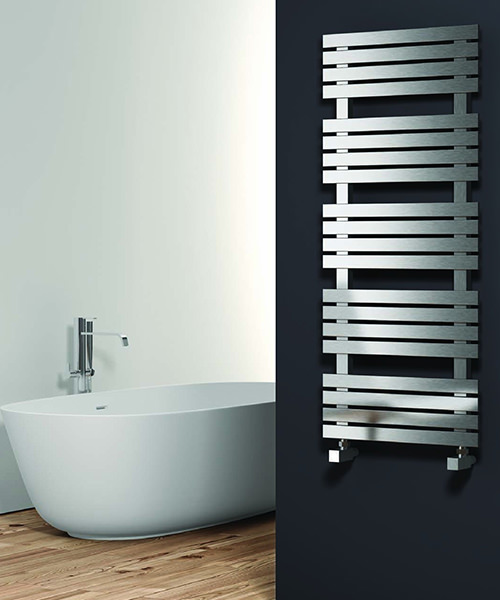 Alternate image of Reina Sienna Satin Stainless Steel Designer Radiator 500 x 690mm