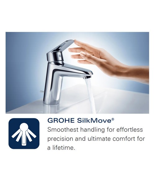 Additional image of Grohe Europlus 3 Hole Basin Mixer Tap With Pop Up Waste Chrome