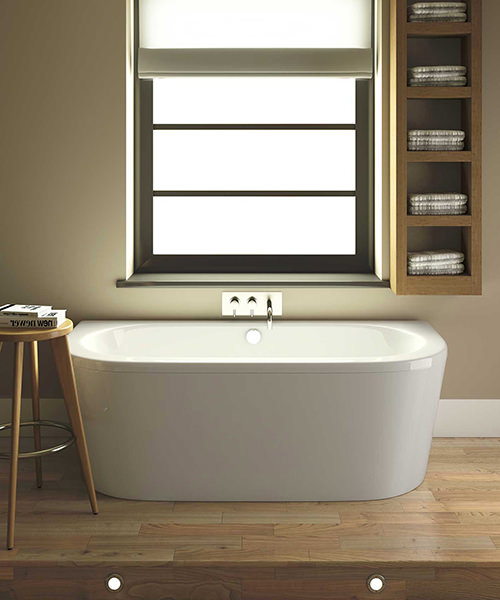 Nuie Premier Shingle 1700 x 750mm Back To Wall Double Ended Bath With Panel