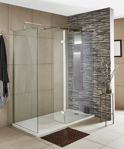 Additional image of Nuie Premier 322 x 1850mm Wetroom Hinged Return Screen