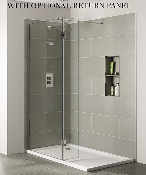 Additional image of April Prestige Frameless 1600mm x 2000mm Wetroom Clear Glass Panel
