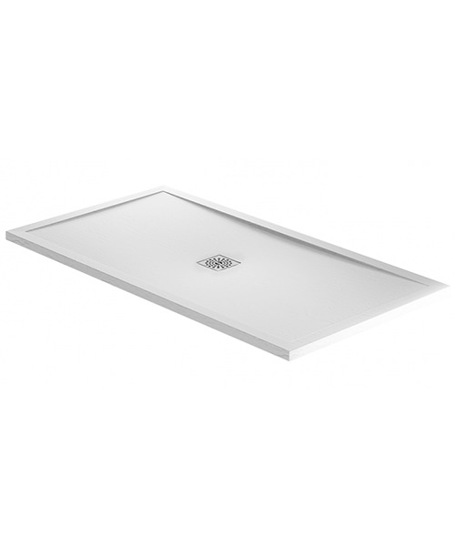 Additional image of April Waifer 1600 x 800mm Rectangular Slate Effect White Shower Tray