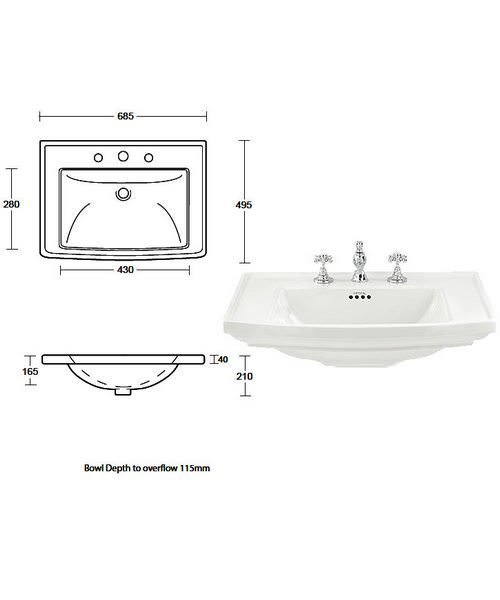 Additional image of Imperial Thurlestone 2 Door Vanity Unit 690mm Wide