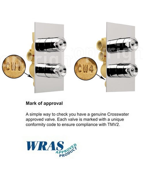 Alternate image of Crosswater Elite Portrait Thermostatic Shower Valve With 2 Way Diverter