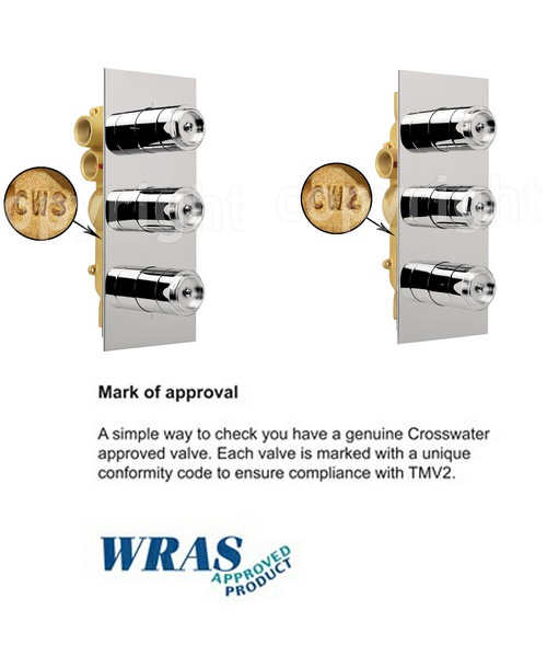 Alternate image of Crosswater Wisp Thermostatic 3 Control Portrait Shower Valve