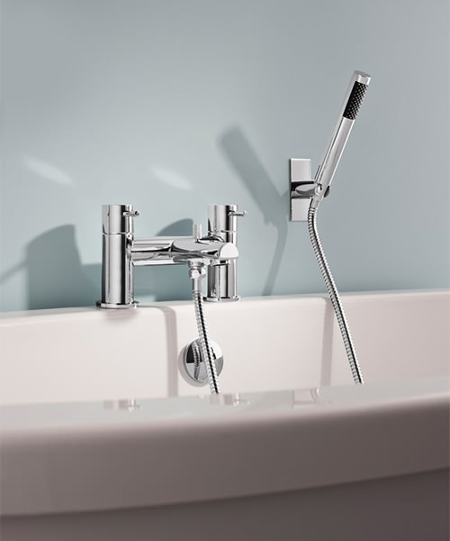 Additional image of Crosswater Kai Lever Deck Mounted Chrome Bath Shower Mixer Tap With Kit