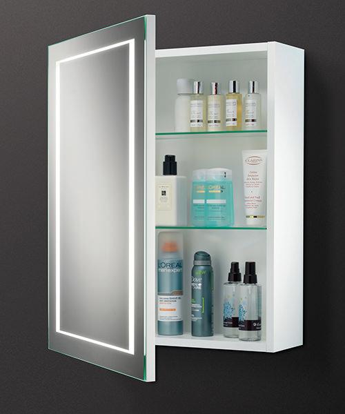 Hib austin single door led illuminated bathroom cabinet for Bathroom cabinets 500