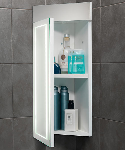Alternate image of HIB Minnesota Corner Bathroom Cabinet LED Illuminated - W 300 x H 630mm