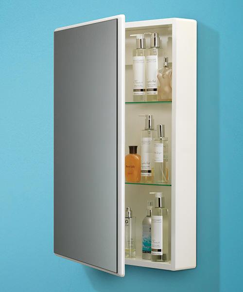 Alternate image of HIB Tulsa Slimline White Single Door Mirrored Cabinet 500 x 700mm