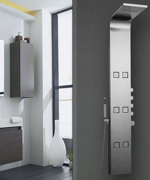 Additional image of Hudson Reed Astral Stainless Steel Thermostatic Shower Panel