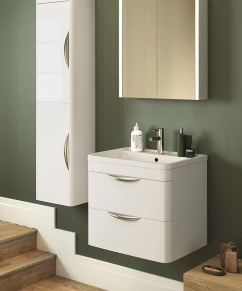 Additional image of Lauren Parade 600mm 2 Drawer Wall Hung Cabinet And Basin