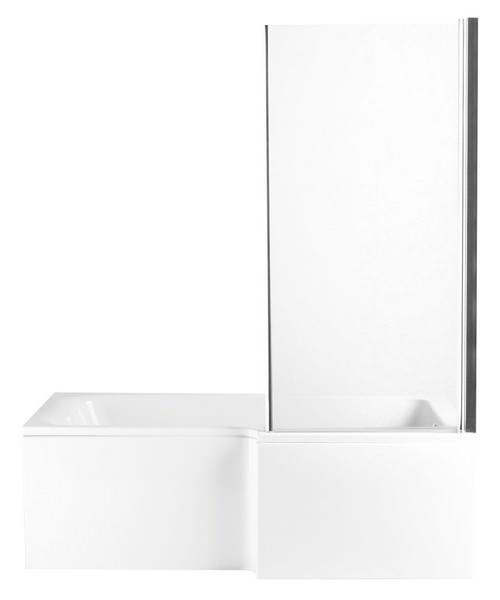 Additional image of Heritage Zaar 1660 x 760 x 150mm L Shaped Bath Screen With Return Panel