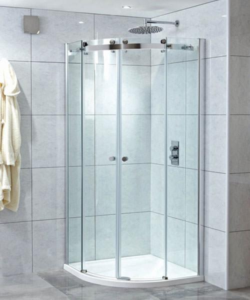 Alternate image of Phoenix Frameless Quadrant Twin Sliding Shower Door 900 x 900mm