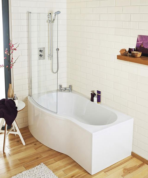 Additional image of Lauren Curved B-Shaped 1700 x 900mm Left Hand Acrylic Shower Bath Pack