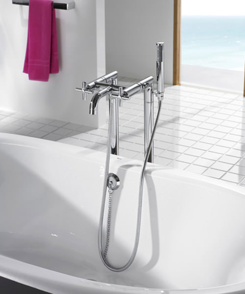 Additional image of Roca Loft Floor Standing Bath Shower Mixer Tap With Kit
