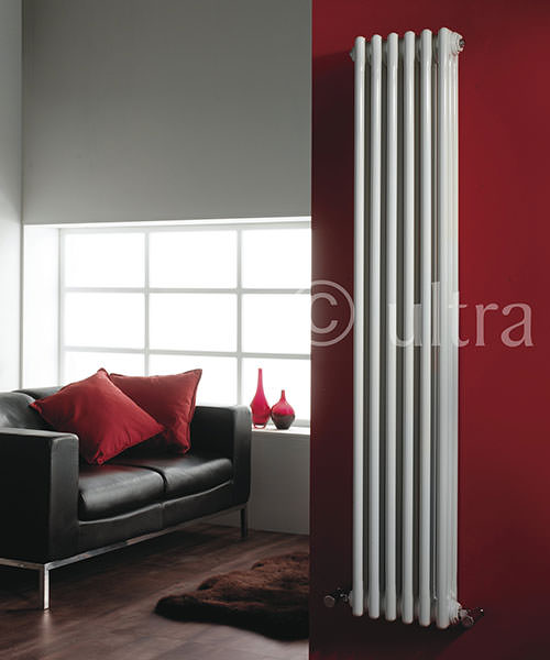 Additional image of Lauren Regency Double Column 335 x 1800mm White Vertical Designer Radiator