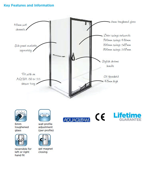 Alternate image of Aqualux Aqua 6 Pivot Shower Door 800mm Polished Silver