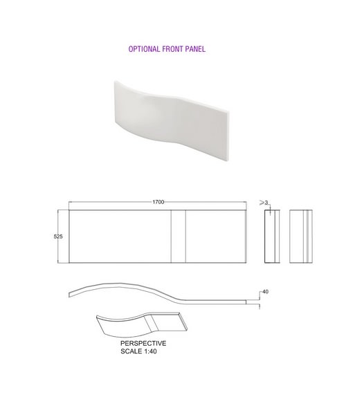 Alternate image of Cleargreen Ecoround Shower Bath 1700mm x 800mm Right Handed