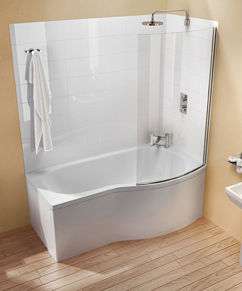 Cleargreen ecoround left handed shower bath 1500mm x 900mm - Baignoire douche 150 ...