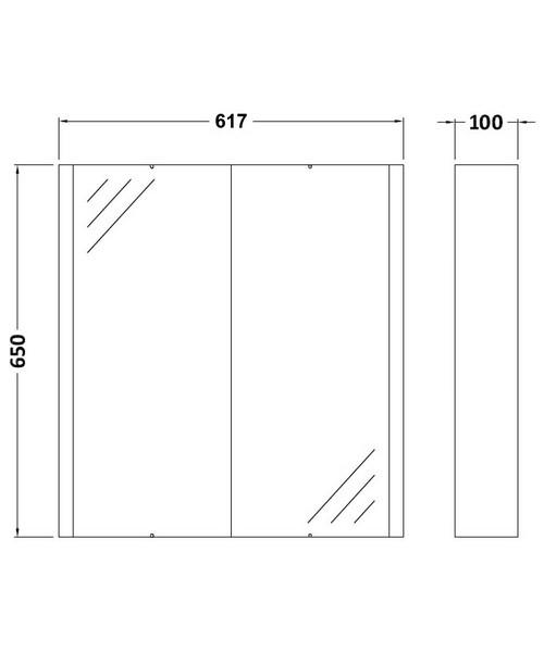 Additional image of Nuie Premier Eden High 600mm 2 Door Mirror Cabinet