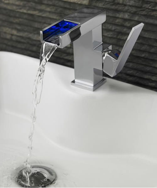 Hudson Reed Art LED Side Action Lever Mono Basin Mixer Tap With Waste