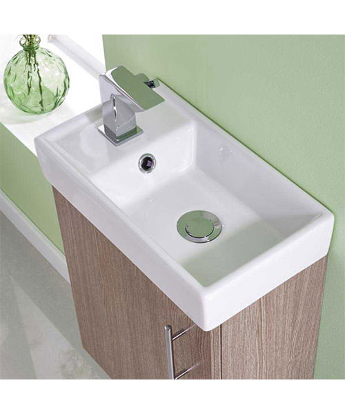 Additional image of Lauren Minimalist 400mm Light Oak Wall Hung Cabinet And Basin