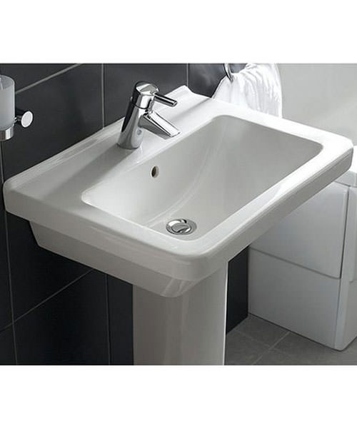 Additional image of VitrA S50 Square 55cm Washbasin With Half Pedestal