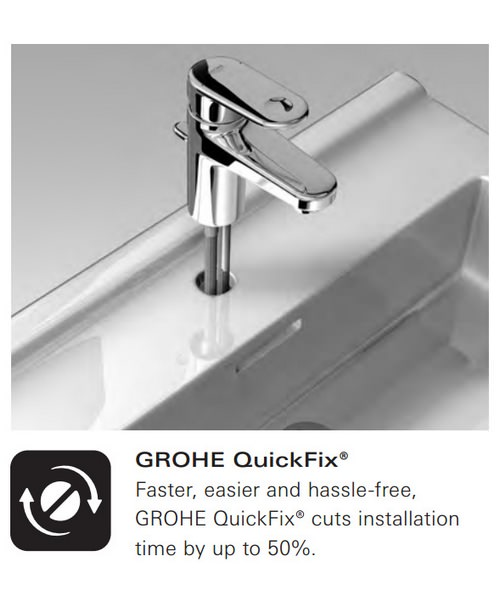 Additional image of Grohe Lineare Three Hole Basin Mixer Tap With Pop Up Waste Chrome