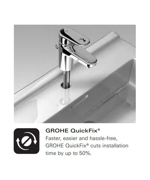 Additional image of Grohe Quadra Three Hole Basin Mixer Tap With Pop Up Waste Chrome