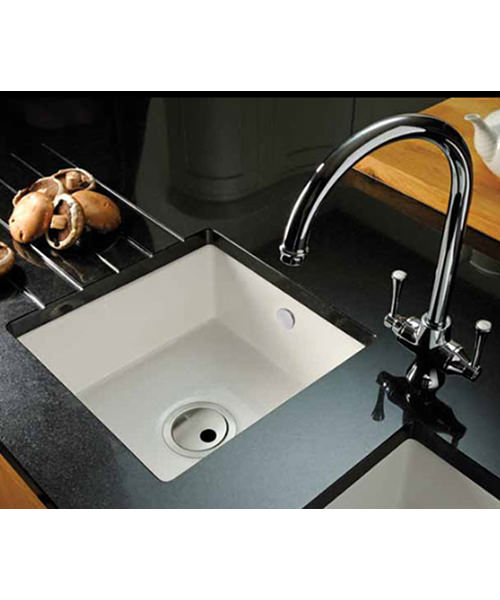 Additional image of Abode Matrix CR25 1.0 Bowl White Ceramic Kitchen Sink