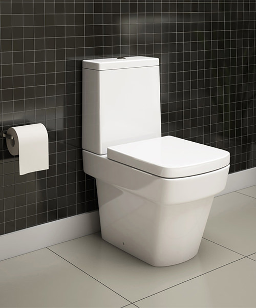 Additional image of Pura Bloque Close Coupled WC Pan With Cistern And Soft Close Seat 630mm