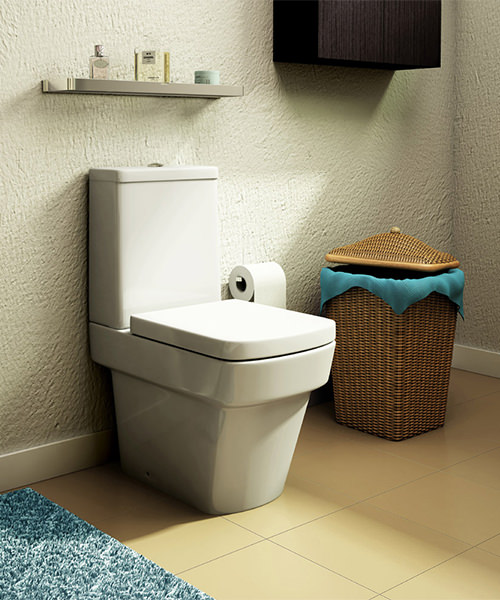 Additional image of Pura Str8 Close Coupled WC Pan With Cistern And Soft Close Seat 640mm