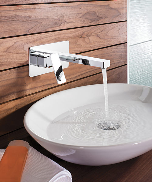 Alternate image of Crosswater Atoll Wall Mounted Chrome 2 Hole Basin Mixer Tap Set