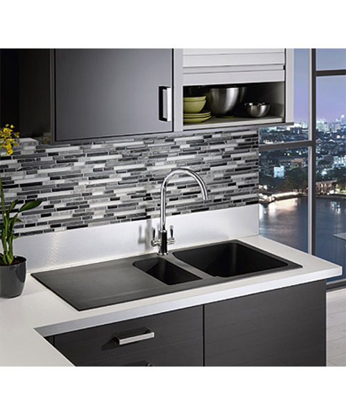 additional image of franke orion oid 651 tectonite 15 bowl carbon black inset sink - Franke Sink