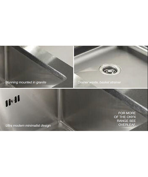 Alternate image of Astracast Onyx 4053 Brushed Stainless Steel Flush Inset Sink - 1.5 Bowl