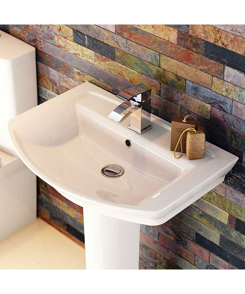 Additional image of Premier Clara 650mm 1 Tap Hole Basin And Full Pedestal