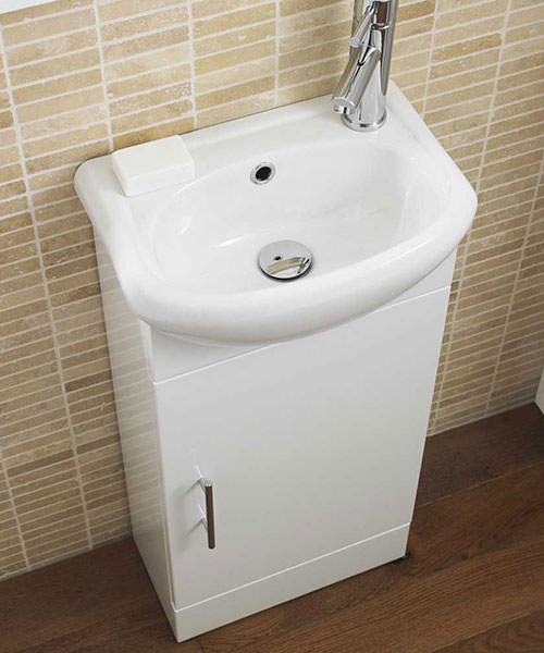Additional image of Premier Floor Standing Gloss White 420mm Cabinet With Basin