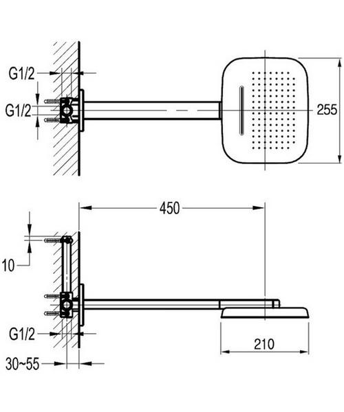 Alternate image of Flova Urban Thermostatic Valve With Diverter - 2 Mode Shower Head And Kit