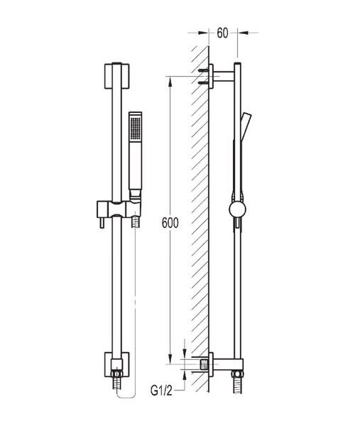 Alternate image of Flova Str8 Thermostatic Slide Rail Shower Set With Bath Spout