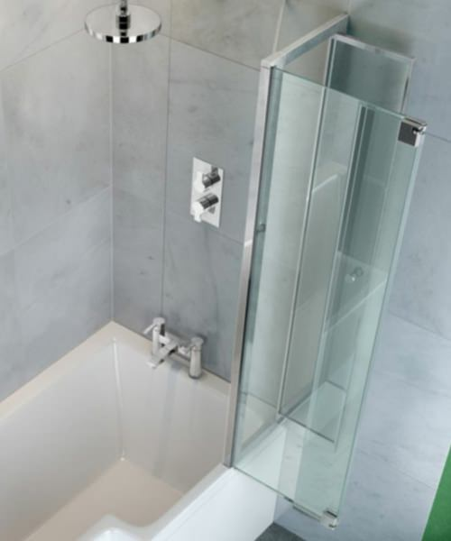 Additional image of Britton Cleargreen 820 x 1450mm EcoSquare Right Hand Bathscreen