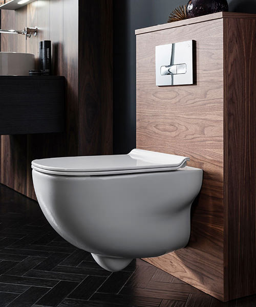 Alternate image of Bauhaus Wild Rimless Wall Hung WC With Soft Close Seat 520mm