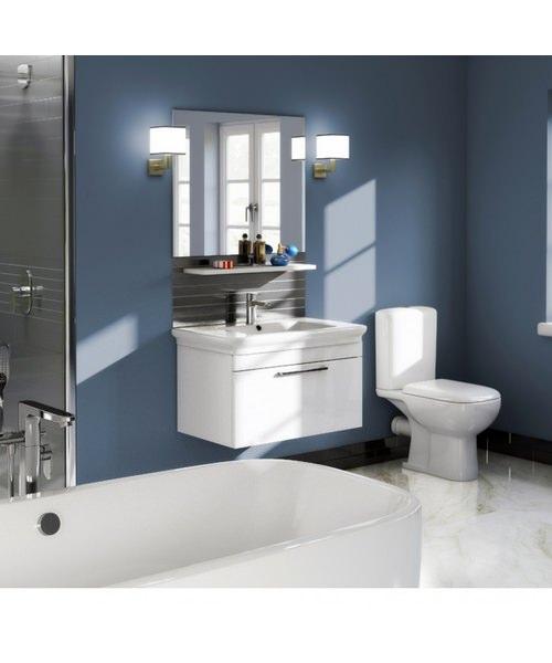 Additional image of Pura Platto 600mm Wall Hung Single Drawer White Gloss Vanity Unit And Basin