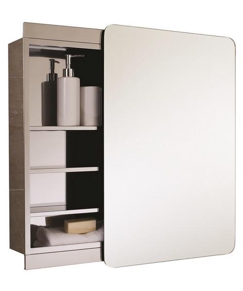 Alternate image of RAK Slide Stainless Steel Single Cabinet with Sliding Mirrored Door 500 x 700mm