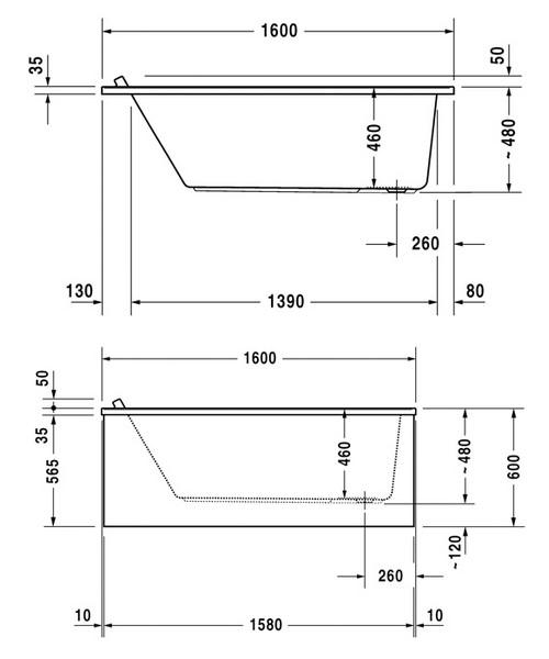 Additional image of Duravit Starck 1600x700mm Rectangular Bath