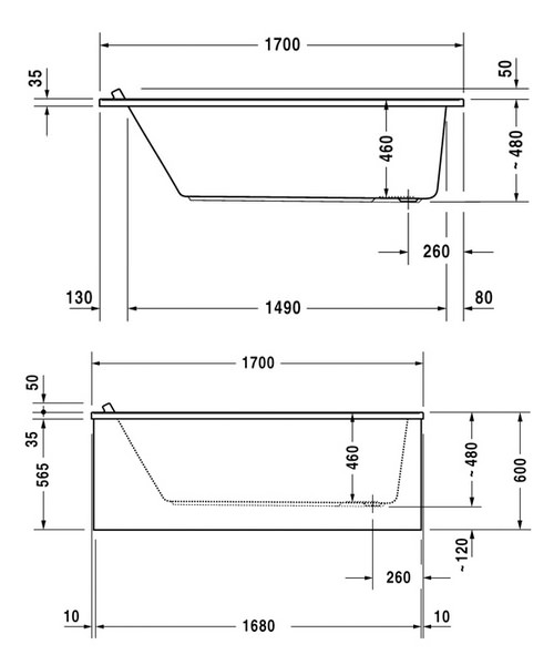 Additional image of Duravit Starck 1700x750mm Rectangular Bath